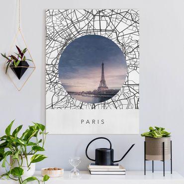 Stampa su tela - Collage mappa di Parigi - Orizzontale 3:4