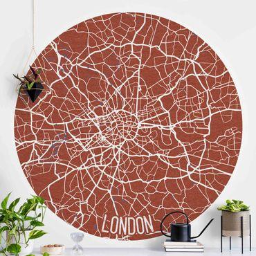Carta da parati rotonda autoadesiva - Mappa di Londra - Retro
