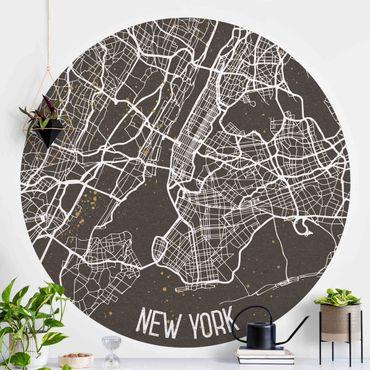Carta da parati rotonda autoadesiva - Mappa New York- Retro