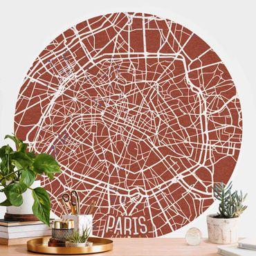 Carta da parati rotonda autoadesiva - Mappa Paris - Retro