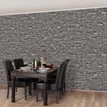 Carta da parati - Stone Wallpaper - Grey Natural Stone Wallpaper