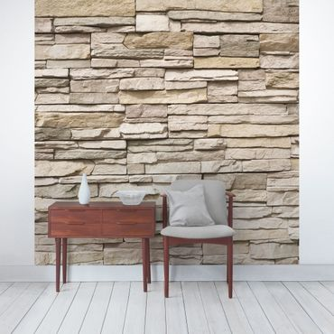 Carta da parati - Asian Stonewall - Stone wall with big bright stones
