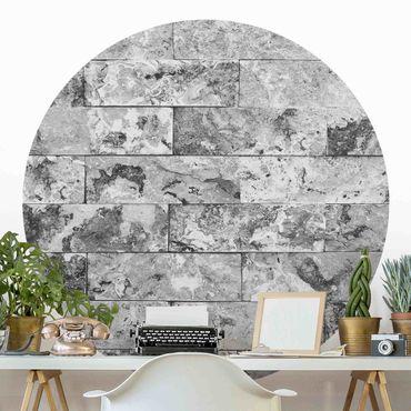 Carta da parati rotonda autoadesiva - muro di pietra grigia marmo naturale