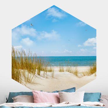 Carta da parati esagonale adesiva con disegni - Spiaggia del Mare del Nord