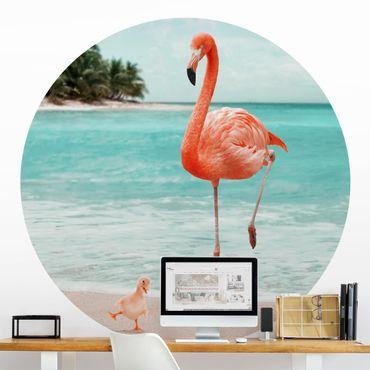 Carta da parati rotonda autoadesiva - Beach con Flamingo