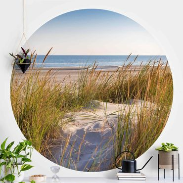 Carta da parati rotonda autoadesiva - Spiaggia di dune al mare