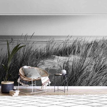 Carta da parati metallizzata - Dune di sabbia al mare in bianco e nero