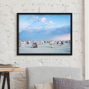 Poster con cornice - Canestri da spiaggia sul Mare del Nord