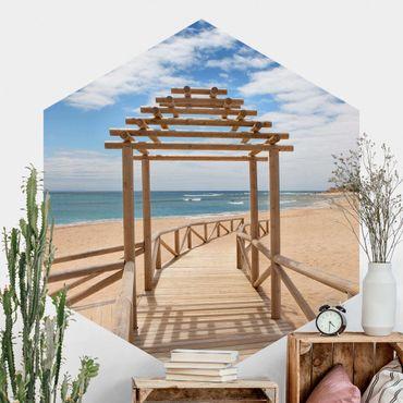 Carta da parati esagonale adesiva con disegni - Sentiero in spiaggia al mare nell'Andalusia