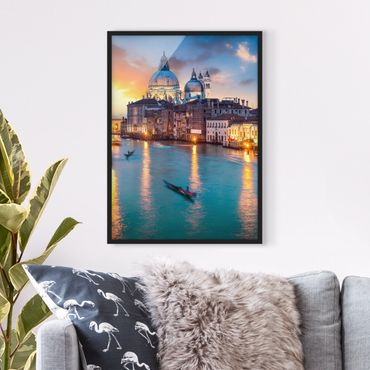 Poster con cornice - Tramonto a Venezia
