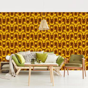 Carta da parati - 70s Circle Wallpaper yellow brown