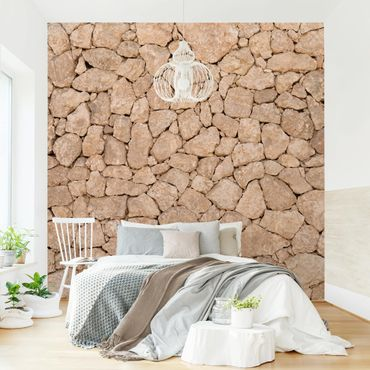 Carta da parati - Apulia Stone Wall - Old stone wall of large stones - Sandstone wallpaper