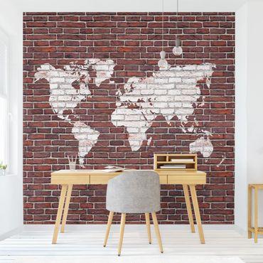 Carta da parati - Mappa su parete in mattoni