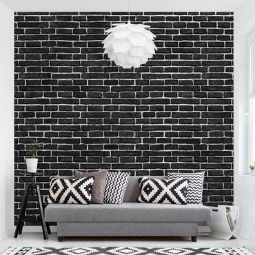 Carta da parati - Brick wall black