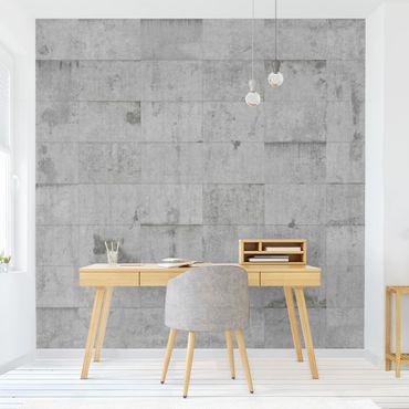 Carta da parati - Conctrete Wallpaper - Grey Concrete Block Wall