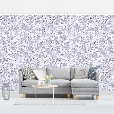 Carta da parati - Floral Pattern with blue Tendrils