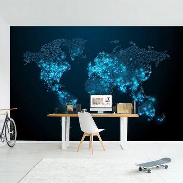 Carta da parati - Mondo connesso con luci in blu