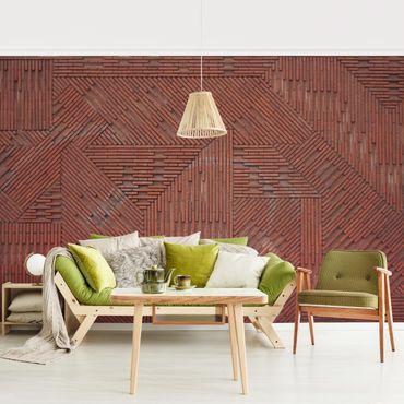 Carta da parati - Design brick wall red