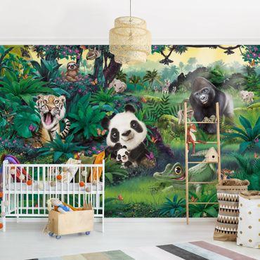 Carta da parati - Animaletti Della Giungla con panda & tigre