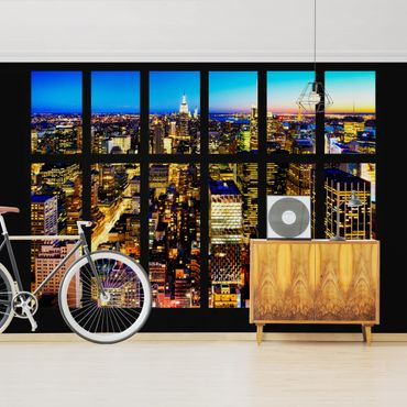 Carta da parati - Window View Manhattan Skyline by Night