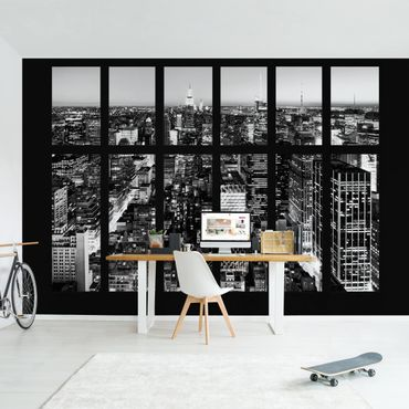 Carta da parati - Window View Manhattan Skyline black-white