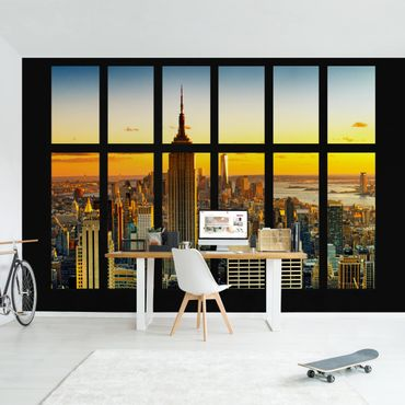 Carta da parati - Window View Manhattan Skyline sunset