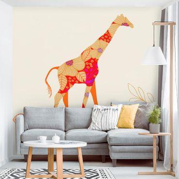 Carta da parati - floreale giraffa