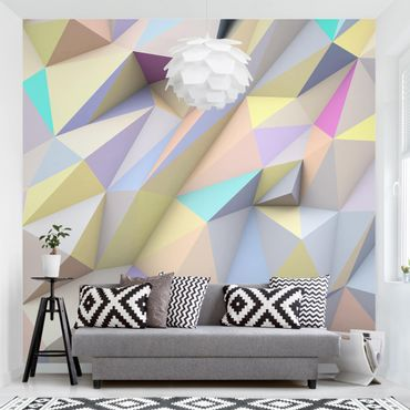 Carta da parati - Geometric Pastel Triangles In 3D