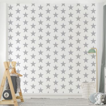 Carta da parati - Large Gray Stars on White
