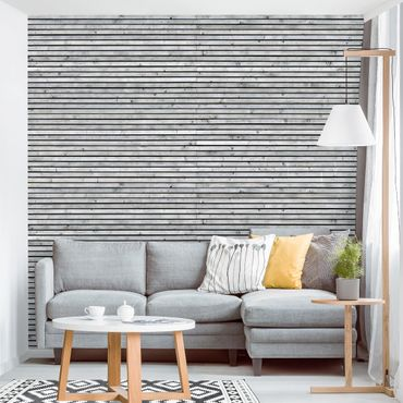 Carta da parati - Wood Panel Wallpaper - Black and White Wood Planks
