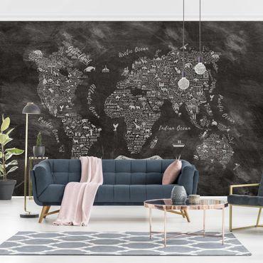 Carta da parati - Mappa del mondo tipografica in gesso