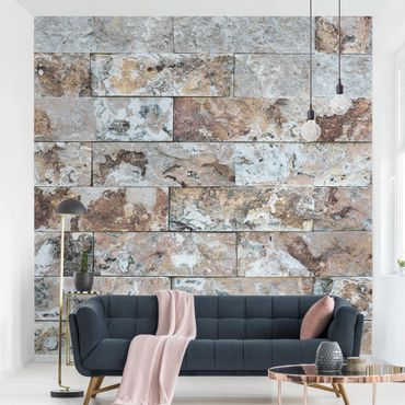 Carta da parati - Natural marble stone wall