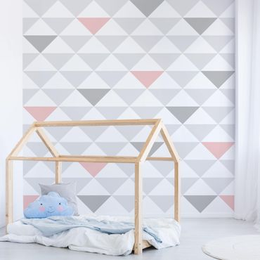 Carta da parati - no.YK65 Triangles Grey White Pink