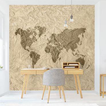 Carta da parati - Mappa del mondo effetto carta marrone beige