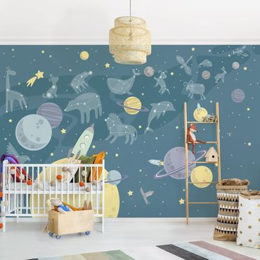 Carta da parati - Planets With Star Signs And Rockets