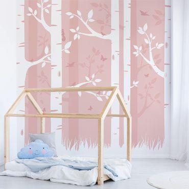 Carta da parati - pink birches with butterflies and birds