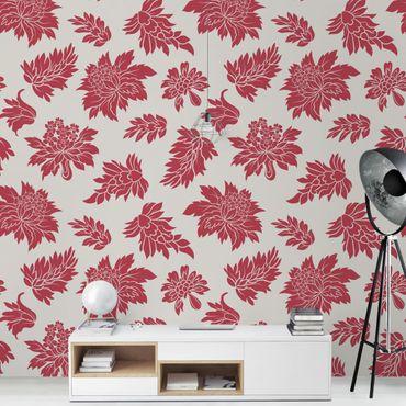 Carta da parati - Red baroque floral pattern