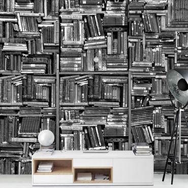 Carta da parati - Libreria shabby in bianco e nero