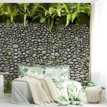 Carta da parati - Stone wall with plants