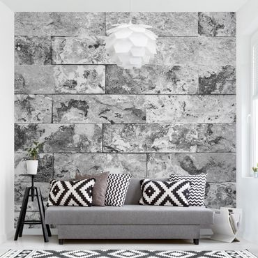 Carta da parati - Stone wall natural marble gray