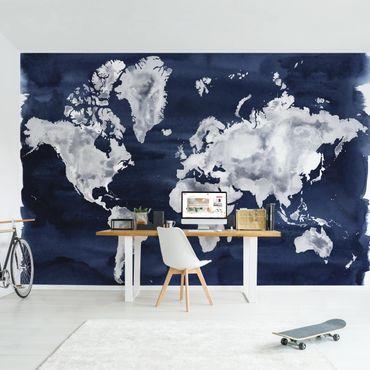 Carta da parati - Mappa del mondo chiara su blu