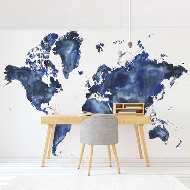 Carta da parati - Mappa del mondo blu su bianco