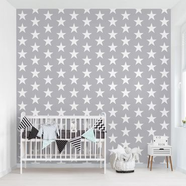 Carta da parati - White stars on grey background