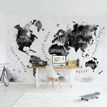 Carta da parati - Mappa in acquerello con scritte nero