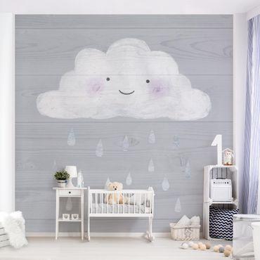 Carta da parati - Nuvola con gocce di pioggia argento