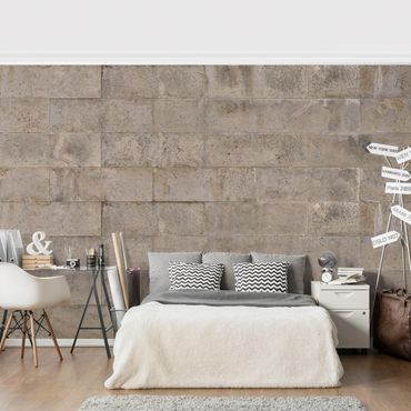Carta da parati - Concrete Wallpaper - Concrete Block Wall Design