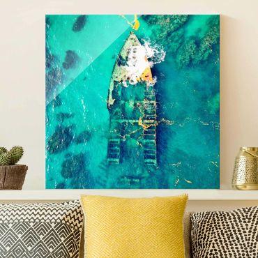 Quadro in vetro - Top View relitto di nave nel mare