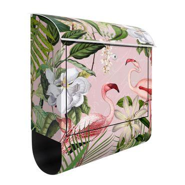 Cassetta postale - Fenicotteri tropicali con piante in rosa
