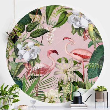 Carta da parati rotonda autoadesiva - Tropicale Fenicotteri con le piante in rosa