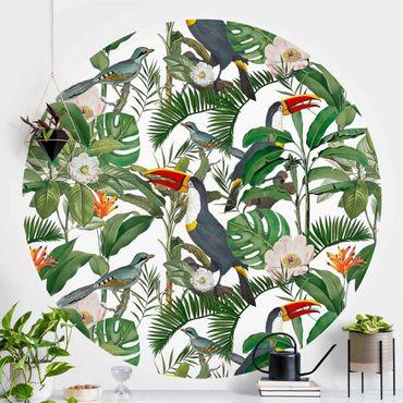 Carta da parati rotonda autoadesiva - Tropical Toucan con Monstera e foglie di palma
